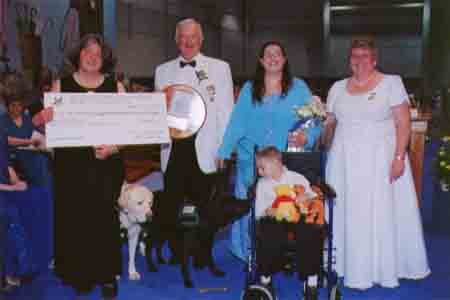 By a TEAM effort the Worthy Grand Matron's special project, Tabs for Tots, raised $ 95,671.49 to provide service dogs for children with disabilities.